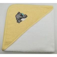 Уголок дет. махровый с вышивкой Слоненок (белый)